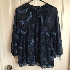 XXL Reitmans sheer navy paisley blouse ruffled